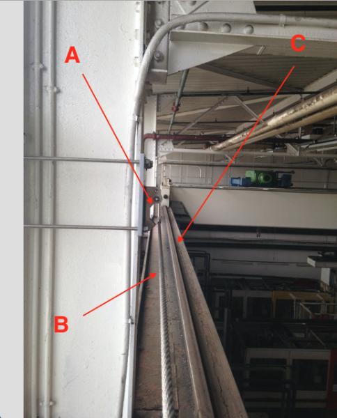 Lignes de vie horizontales câble fixées sur charpente bois ou acier